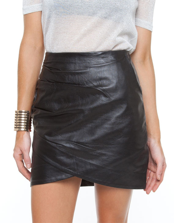White Suede Leather Skirt