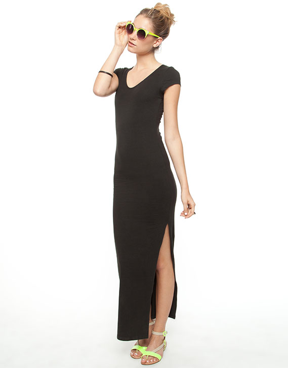At By Atmos Here Pegasus Short Sleeve Maxi Dress Black Fahsion88